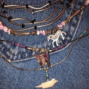 bundle of 4 liquid silver necklaces